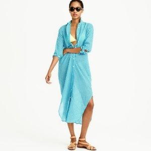 J. Crew Gingham Tunic Dress Beach Cover-up